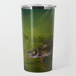 Walleye, the Chase (walleye fishing art) Travel Mug