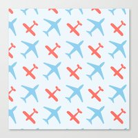 airplanes Canvas Prints featuring Airplanes by Daily Design