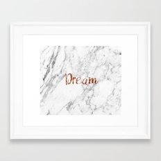 Rose gold marble dream Framed Art Print