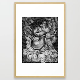Sitting on a cloud Framed Art Print