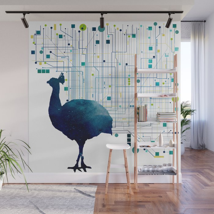CYBER PEACOCK Wall Mural by archigraf Society6