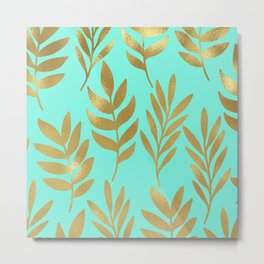 Mint green and gold foil fern Metal Print