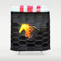 mustang Shower Curtains featuring Firey Mustang by VHS Photography