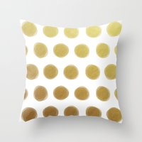 gold dots Throw Pillows featuring painted polka dots - gold by her art