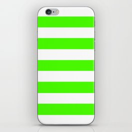Chlorophyll green - solid color - white stripes pattern iPhone Skin