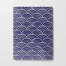 Japanese Seigaiha Wave – Navy Palette Metal Print