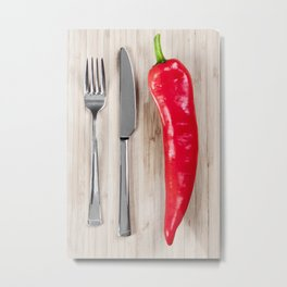 Red pepper on chopping board Metal Print