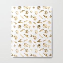 Gold Roses Rosette Pattern Golden on White Metal Print