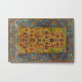 Hereke Vintage Persian Silk Rug Print Metal Print
