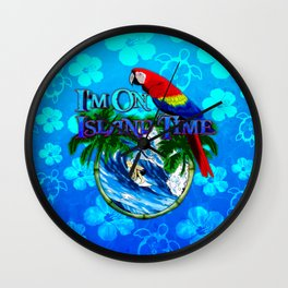 Blue Flowers Island Time Surf Wall Clock