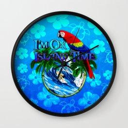 Blue Flowers Island Time Surf Wall Clock