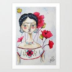 Frida with Poppies Art Print