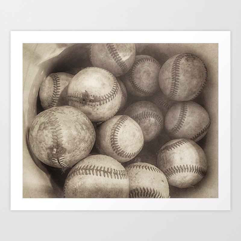 Bucket of Old Baseballs in Sepia Art Print