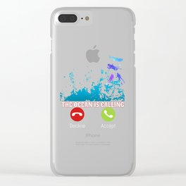 The Ocean is Calling Sea Beach Watersports Scuba diving Clear iPhone Case