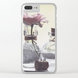 Pink Rose in Tiny Bottle Clear iPhone Case