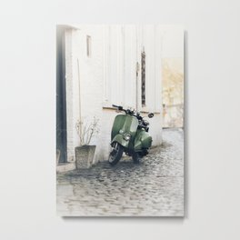 Green Moped Metal Print