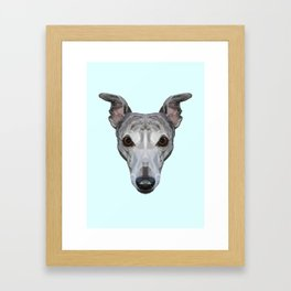 Whippet // Pastel Blue Framed Art Print