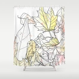 Autumn Leaves Watercolor Shower Curtain