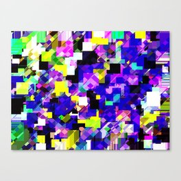 geometric square pixel pattern abstract in blue yellow pink Canvas Print