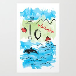 City scape - Seattle, Washington Art Print