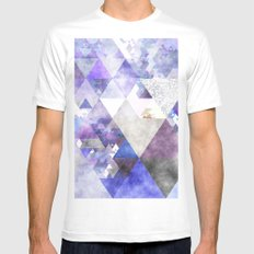 Purple and silver glitter triangle pattern- Abstract watercolor illustration MEDIUM Mens Fitted Tee White