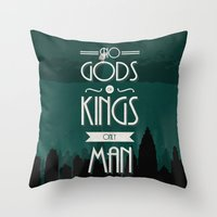 travel poster Throw Pillows featuring Rapture Travel Poster by Bill Pyle