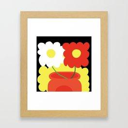 Flowers on Black Framed Art Print