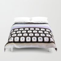 typewriter Duvet Covers featuring Typewriter by MiaKat