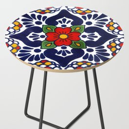 talavera mexican tile in blu Side Table