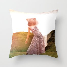 Caught in the Wind-Surreal Collage Throw Pillow