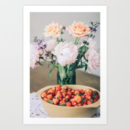 Strawberries, peonies and roses Art Print