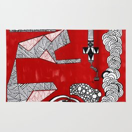 Red Abstract Composition Rug