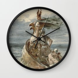 Vintage Raiding Vikings Painting (1873) Wall Clock