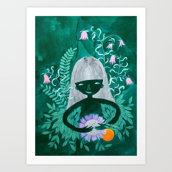 green women with plants and flowers watercolor illustration Art Print