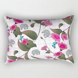 Abstract neon pink green cute elephant floral Rectangular Pillow