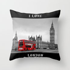 Black and White London with Red Bus Throw Pillow