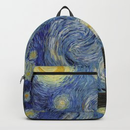 The Starry Night by Vincent van Gogh 1889 // Abstract Brush Stroke Detail Mountains Stars City Scene Backpack