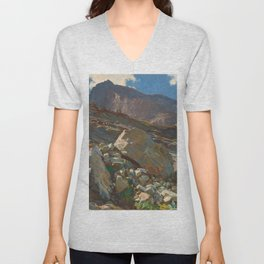 Simplon Pass Oil Painting by  John Singer Sargent Unisex V-Neck