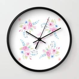 Spring Hand Painted Watercolor Flowers Wall Clock