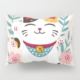 Japanese Lucky Cat with Cherry Blossoms Pillow Sham