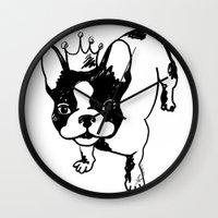 french bulldog Wall Clocks featuring French bulldog by Pendientera