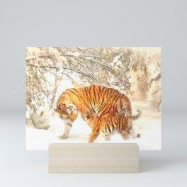 Siberian Amur Tigers Mini Art Print