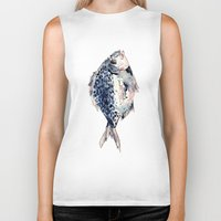 fairytale Biker Tanks featuring Fairytale Fish by Christie Rainey
