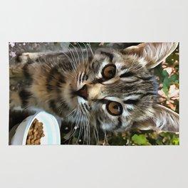 Tabby Cat Kitten Making Eye Contact Rug