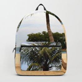 Palm Tree on a Sandy Beach Backpack