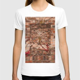 Red ivy hedge creeper on wall T-shirt