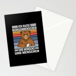 Kaffee Bär Spruch Hasse Morgenmenschen, Morgen und Menschen Stationery Cards