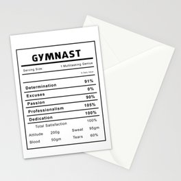 Gymnast Nutrition Ingredients Stationery Cards