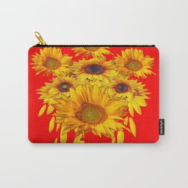 Decorative Red Sunflowers Art Abstract Carry-All Pouch