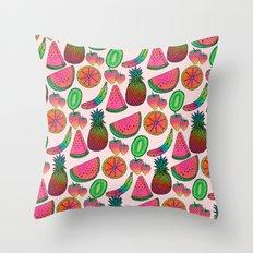 Rainbow fruits by Luna Portnoi Throw Pillow